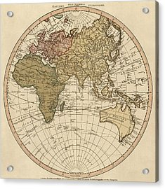 Antique Map Of The Eastern Hemisphere By William Faden - 1786 Acrylic Print