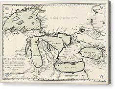 Antique Map Of The Great Lakes By Jacques Nicolas Bellin - 1742 Acrylic Print