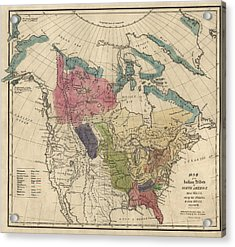 Antique Map Of The Indian Tribes Of North America By Albert Gallatin - 1836 Acrylic Print by Blue Monocle