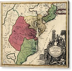 Antique Map Of The Middle American Colonies By Johann Baptist Homann - Circa 1759 Acrylic Print by Blue Monocle