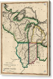 Antique Map Of The Midwest Us By Kneass And Delleker - Circa 1810 Acrylic Print