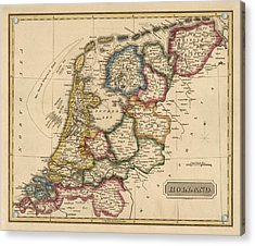 Antique Map Of The Netherlands By Fielding Lucas - Circa 1817 Acrylic Print