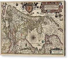Antique Map Of The Netherlands By Pieter Van Den Keere - 1617 Acrylic Print by Blue Monocle