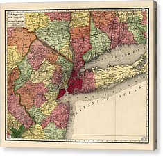 Acrylic Print featuring the drawing Antique Map Of The New York City Region By Rand Mcnally And Company - 1908 by Blue Monocle