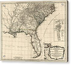 Antique Map Of The Southeastern United States By Bernard Romans - 1776 Acrylic Print by Blue Monocle