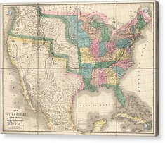 Antique Map Of The United States By David Burr - 1839 Acrylic Print by Blue Monocle