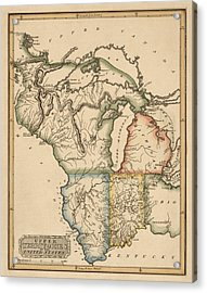 Antique Map Of The Upper Midwest Us By Fielding Lucas - Circa 1817 Acrylic Print