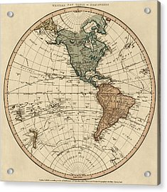 Antique Map Of The Western Hemisphere By William Faden - 1786 Acrylic Print by Blue Monocle