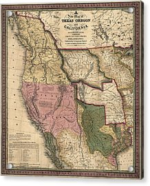 Antique Map Of The Western United States By Samuel Augustus Mitchell - 1846 Acrylic Print by Blue Monocle