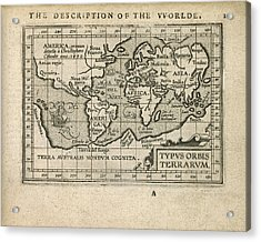Antique Map Of The World By Abraham Ortelius - 1603 Acrylic Print by Blue Monocle
