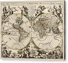 Antique Map Of The World By Alexis Hubert Jaillot - 1694 Acrylic Print by Blue Monocle