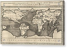 Antique Map Of The World By Athanasius Kircher - 1668 Acrylic Print by Blue Monocle