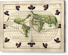 Antique Map Of The World By Battista Agnese - Circa 1544 Acrylic Print by Blue Monocle