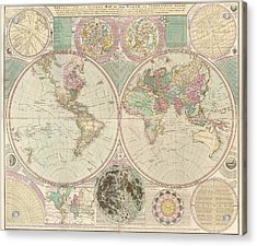 Antique Map Of The World By Carington Bowles - Circa 1780 Acrylic Print by Blue Monocle