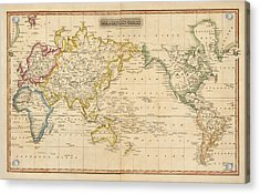 Antique Map Of The World By Fielding Lucas - Circa 1817 Acrylic Print by Blue Monocle