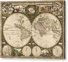 Antique Map Of The World By Frederik De Wit - 1660 Acrylic Print by Blue Monocle