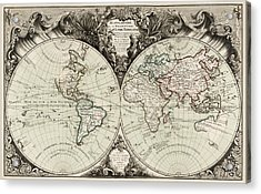 Antique Map Of The World By Gilles Robert De Vaugondy - 1743 Acrylic Print by Blue Monocle