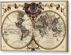 Antique Map Of The World By Guillaume Delisle - 1720 Acrylic Print by Blue Monocle