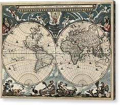Antique Map Of The World By Joan Blaeu - 1664 Acrylic Print by Blue Monocle