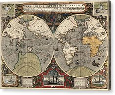 Antique Map Of The World By Jodocus Hondius - Circa 1565 Acrylic Print by Blue Monocle