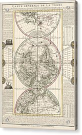 Antique Map Of The World By M. Flecheux - 1782 Acrylic Print by Blue Monocle