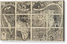 Antique Map Of The World By Martin Waldseemuller - 1507 Acrylic Print by Blue Monocle