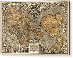 Antique Map Of The World By Oronce Fine - 1531 Acrylic Print by Blue Monocle