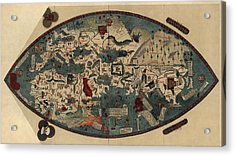 Antique Map Of The World By Paolo Del Pozzo Toscanelli - Circa 1450 Acrylic Print by Blue Monocle