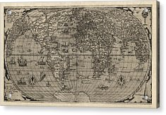 Antique Map Of The World By Paolo Forlani - 1560 Acrylic Print by Blue Monocle