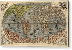 Antique Map Of The World By Paolo Forlani - 1565 Acrylic Print by Blue Monocle