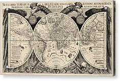 Antique Map Of The World By Philipp Eckebrecht - 1630 Acrylic Print by Blue Monocle