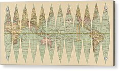 Antique Map Of The World By Rand Mcnally And Company - 1887 Acrylic Print by Blue Monocle