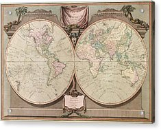 Antique Map Of The World By Robert Laurie And James Whittle - 1808 Acrylic Print by Blue Monocle