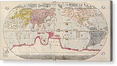 Antique Map Of The World By Sekisui Nagakubo - Circa 1785 Acrylic Print by Blue Monocle