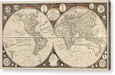 Antique Map Of The World By Thomas Kitchen - 1799 Acrylic Print by Blue Monocle