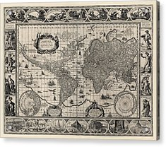 Antique Map Of The World By Willem Janszoon Blaeu - 1606 Acrylic Print by Blue Monocle