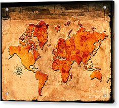 Antique Map Of The World Acrylic Print by Lane Erickson