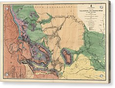 Antique Map Of The Yellowstone And Missouri Rivers By F. V. Hayden - 1869 Acrylic Print by Blue Monocle