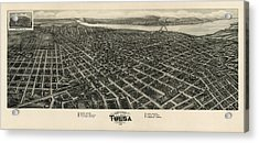 Antique Map Of Tulsa Oklahoma By Fowler And Kelly - 1918 Acrylic Print by Blue Monocle