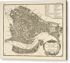 Antique Map Of Venice Italy By Jacques Nicolas Bellin - 1764 Acrylic Print by Blue Monocle