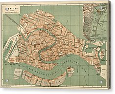 Antique Map Of Venice Italy By Wagner And Debes - Circa 1886 Acrylic Print