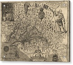 Antique Map Of Virginia And Maryland By John Smith - 1624 Acrylic Print by Blue Monocle