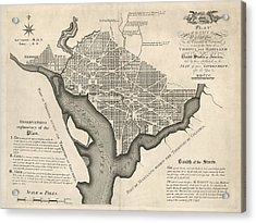 Antique Map Of Washington Dc By Andrew Ellicott - 1792 Acrylic Print by Blue Monocle