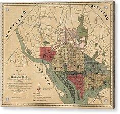 Antique Map Of Washington Dc By R. E. Whitman - 1887 Acrylic Print by Blue Monocle