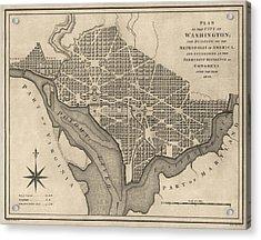 Antique Map Of Washington Dc By William Bent - 1793 Acrylic Print