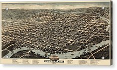 Antique Map Of Wilmington Delaware By H. H. Bailey And Co. - 1874 Acrylic Print by Blue Monocle