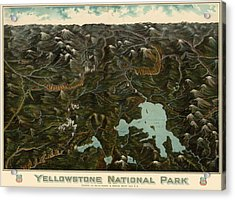 Antique Map Of Yellowstone National Park By The Union Pacific Railroad Co. - Circa 1900 Acrylic Print by Blue Monocle