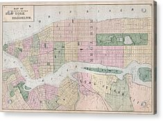 Antique New York City Map Acrylic Print by Dan Sproul