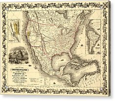 Antique North America Map Acrylic Print by Gary Grayson