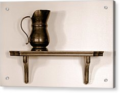 Antique Pewter Pitcher On Old Wood Shelf Acrylic Print by Olivier Le Queinec